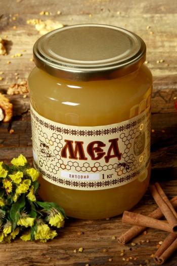 Мед липовий 1кг(720мл)
